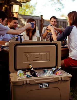yeti cooler being used