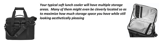 soft lunch cooler storage areas
