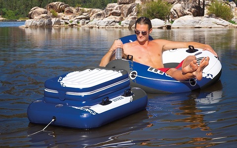 floating cooler on the lake
