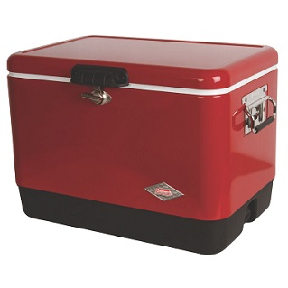 Red Coleman Steel Cooler Full