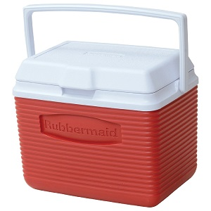 Red Rubbermaid Personal Ice Chest Full