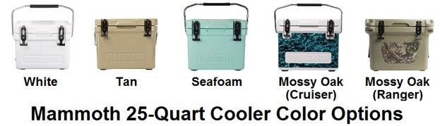 mammoth cooler color options 25 quart