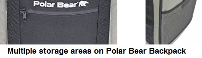 polar bear backpack cooler storage areas