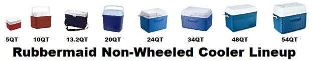 rubbermaid non-wheeled cooler lineup