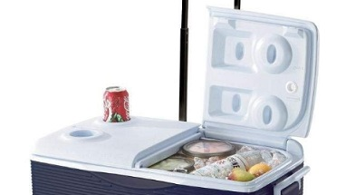 rubbermaid wheeled cooler 2 part lid