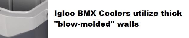 igloo bmx cooler blow molded walls