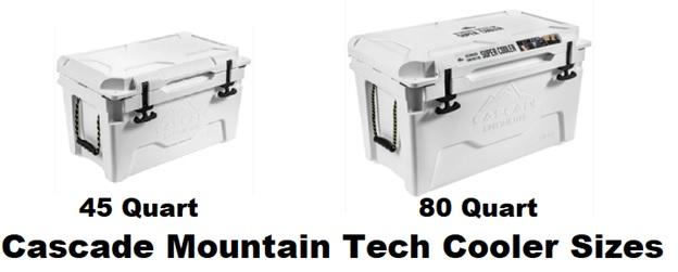 cascade mountain tech cooler sizes